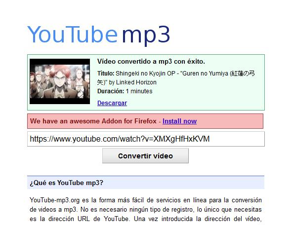 Descargar sonido de youtube